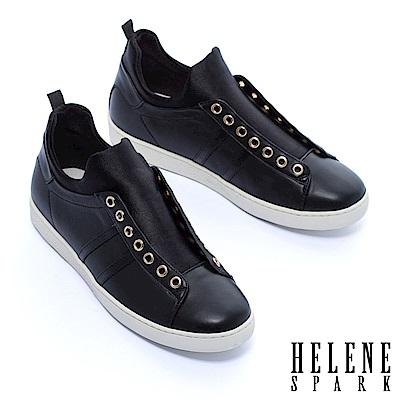 休閒鞋 HELENE SPARK 時髦異材質拼接厚底休閒鞋-黑