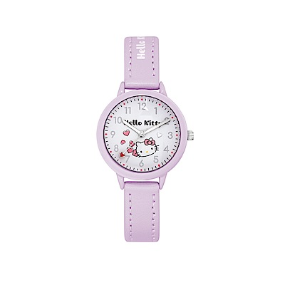HELLO KITTY 凱蒂貓 粉嫩簡約造型手錶-白×淺紫/32mm