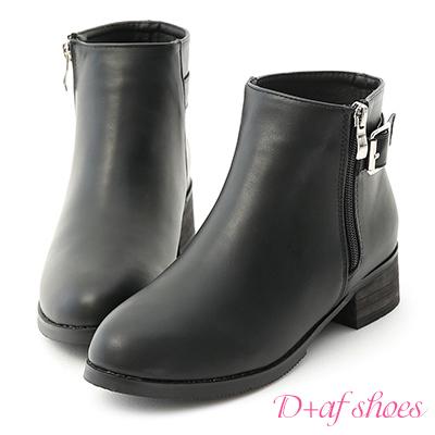 D+AF 勁酷登場.金屬拉鍊方釦環短靴*黑