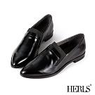 HERLS樂福鞋-全真皮鬆緊帶拼接尖頭低跟樂福鞋-黑色