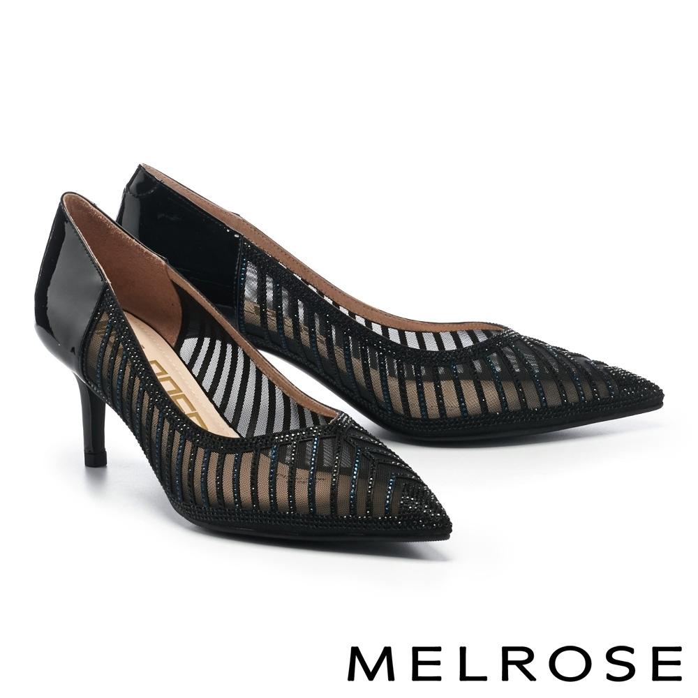 高跟鞋 MELROSE 高雅裸膚晶鑽異材質拼接尖頭高跟鞋-黑