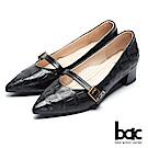 【bac】經典回歸-特殊壓紋復古瑪莉珍尖頭粗跟高跟鞋