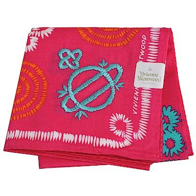 VIVIENNE WESTWOOD 幾何繽紛大行星LOGO刺繡帕領巾(桃紅系)