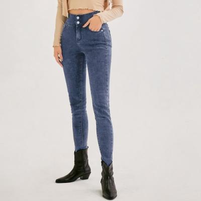 AIR SPACE 一般身高零修圖翹臀顯瘦牛仔褲(藍)