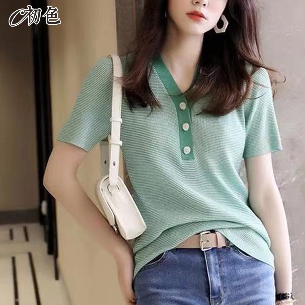 初色  V領格紋針織衫-共3色-(F可選)