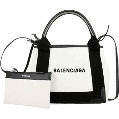 BALENCIAGA Navy Cabas XS 品牌字母帆布手提/肩背包(米白/附萬用包)