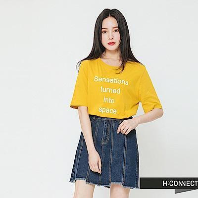H:CONNECT 韓國品牌 女裝-標語圓領T-shirt-黃