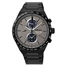 SEIKO精工SPIRIT 太陽能計時腕錶-灰x鍍黑(SSC527J1)