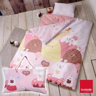La mode寢飾 草莓兔睡寶包 環保印染100%精梳棉兒童睡袋
