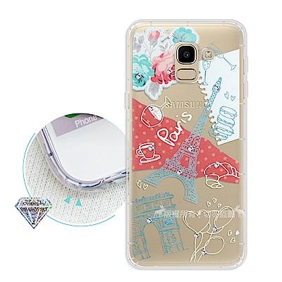 浪漫彩繪 Samsung Galaxy J6 水鑽空壓氣墊手機殼(巴黎鐵塔)