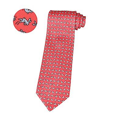 HERMES愛馬仕CABRIOLES經典緹花LOGO兔子設計蠶絲領帶(紅)