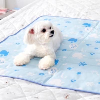 奶油獅-雪花樂園-長效型降6度涼感冰砂冰涼墊(90x90cm)大型寵物涼墊-藍色(二入)