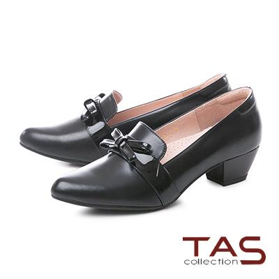 TAS素面拼接漆皮蝴蝶結樂福粗跟鞋-迷人黑