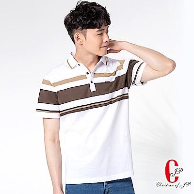 Christian 超輕量戶外純棉男POLO_白咖條(PS802-80)