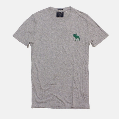 A&F 大麋鹿綠 男款 LOGO素色短袖T(灰色-S)
