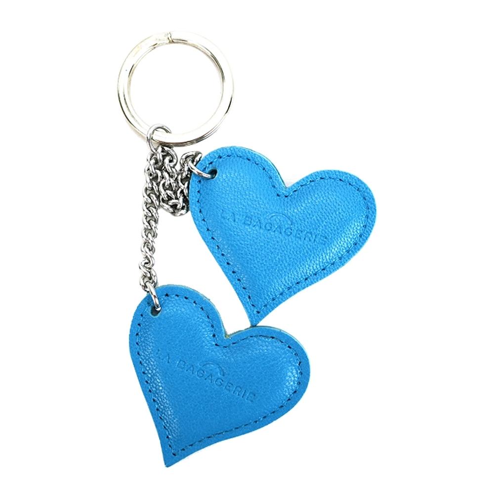 LA BAGAGERIE 牛皮雙心鑰匙圈(土耳其藍)
