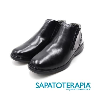 SAPATOTERAPIA(男)PRETO雙拉鍊短筒靴 男鞋-黑