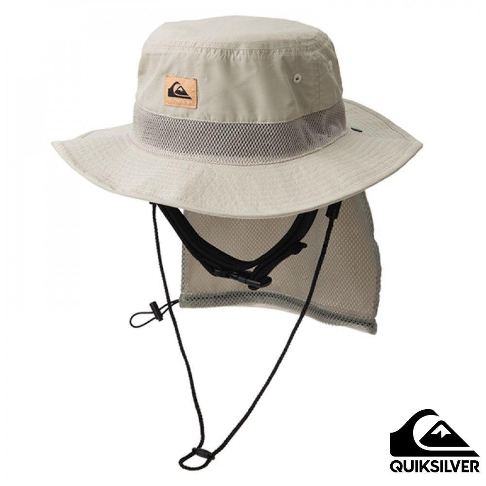 【 QUIKSILVER】UV WATER CAMP HAT 可折疊戶外運動防曬帽 米色