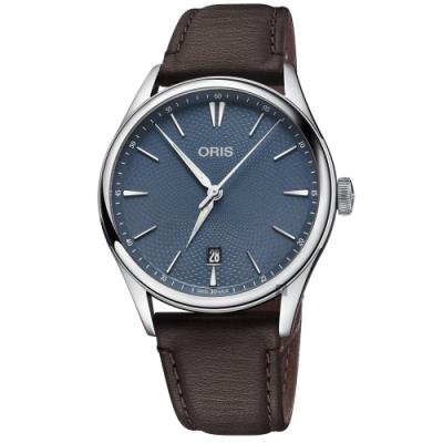 Oris 豪利時 Artelier 日期機械錶-藍x咖啡/40mm