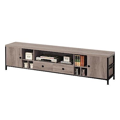 文創集 波可7尺木紋電視櫃/視聽櫃-209x40x56.5cm免組