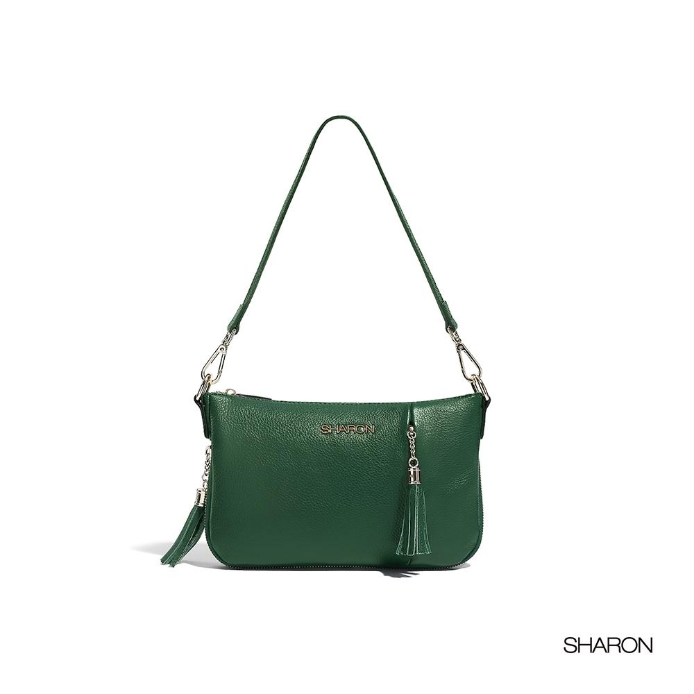 【SHARON 雪恩】頭層牛皮Dora軟皮流蘇小包(墨綠色33036GN)