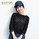 betty's貝蒂思 微透膚簍空蕾絲上衣(黑色)