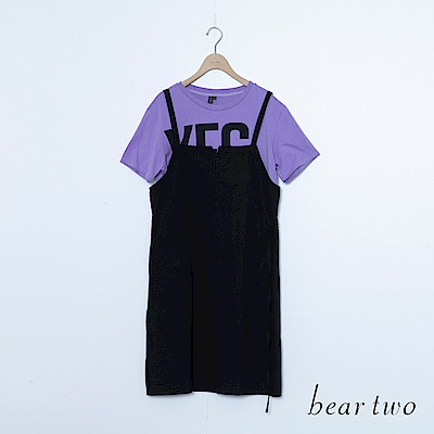 beartwo 兩件式吊帶T恤英文字印洋裝(黑色)