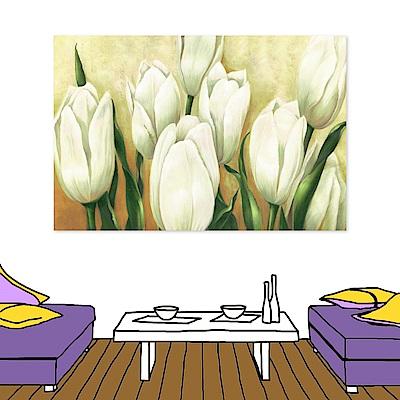 24mama掛畫 單聯 時尚無框畫掛畫-白色花卉 40x60cm