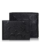 COACH 壓紋皮革 / 雙摺皮夾(附卡夾/黑色)