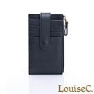 LouiseC. 植鞣牛皮 多層釦式 卡片夾/零錢包-沉穩黑 WI1102-05
