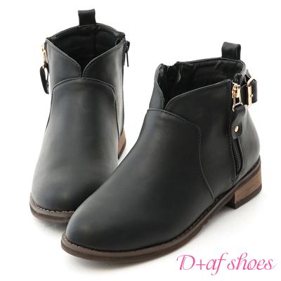 D+AF 好評推薦.V口拉鍊釦環內增高短靴*黑