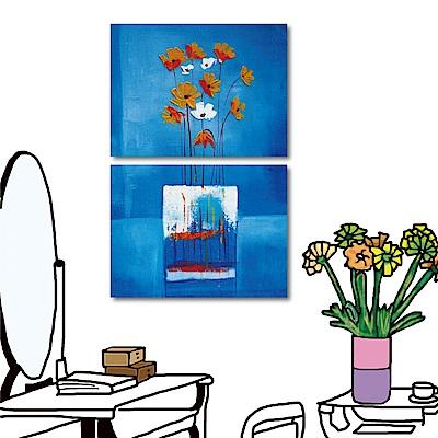 橙品油畫布 兩聯式橫幅 無框掛畫-藍花40x30cm