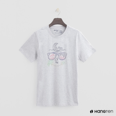 Hang Ten - 有機棉-簡約夏日霓虹圖樣短T- 灰