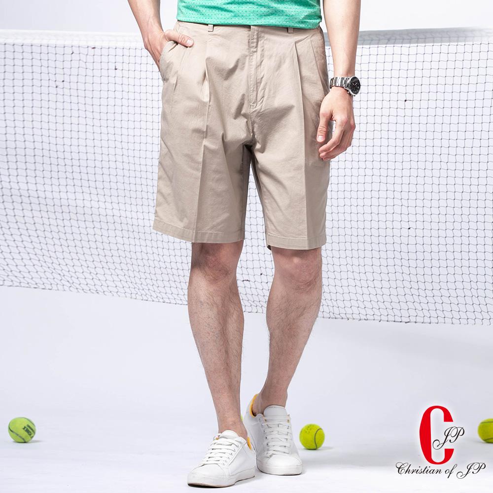 Christian 夏日型男水洗雙摺鬆緊短褲_卡其(CS731-2)