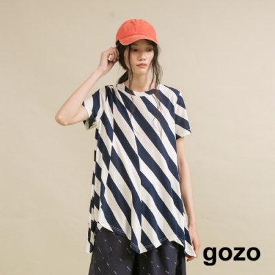 gozo 斜條紋剪接上衣(二色)
