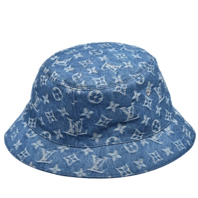 LV M76746 ESSENTIAL經典Monogram花紋雙面漁夫帽(牛仔藍)