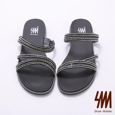 SM-俏麗五環帶水鑽平底拖鞋