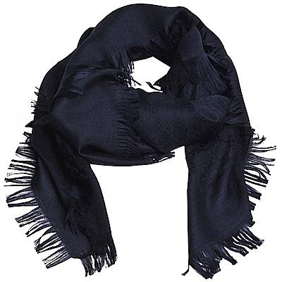 GUCCI SL GG LOGO 高質感絲毛混造型正方形圍巾(海軍藍)