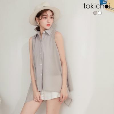 東京著衣 韓妞穿搭款直條紋傘狀無袖襯衫-S.M.L(共二色)