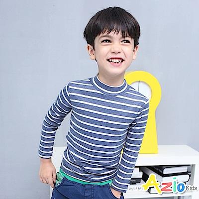 Azio Kids 上衣 磨毛條紋長袖保暖衣(藍底白條)