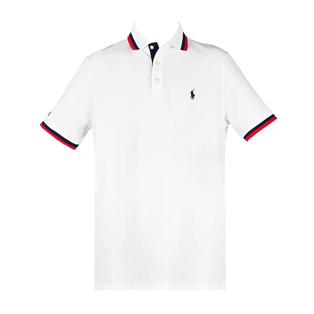 Ralph Lauren 經典刺繡小馬滾邊男款POLO衫-白