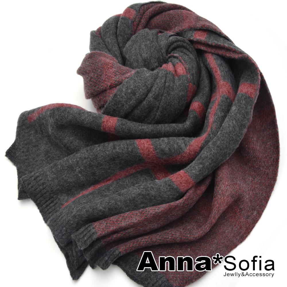 【滿688打75折】AnnaSofia 手感毛料絨格 厚織仿羊絨大披肩圍巾(深灰系)