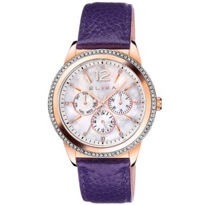ELIXA ENJOY晶鑽三眼刻度系列 玫瑰金錶框x紫色皮革錶帶手錶40mm