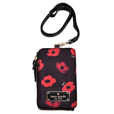 Kate spade 飾牌LOGO輕量尼龍證件夾-黑底紅花
