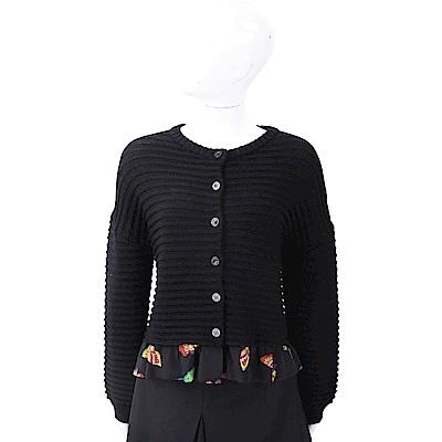 BOUTIQUE MOSCHINO 100%小羊毛荷葉襬澎澎袖開襟針織衫