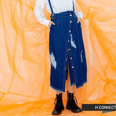H:CONNECT 韓國品牌 女裝 -不收邊刷破開衩吊帶裙-藍