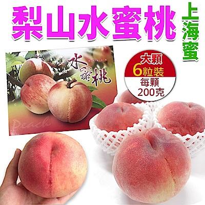 【天天果園】梨山大顆上海蜜水蜜桃(200g) x6顆