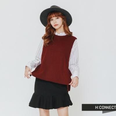 H:CONNECT 韓國品牌 女裝 - V領長版針織背心-酒紅(快)