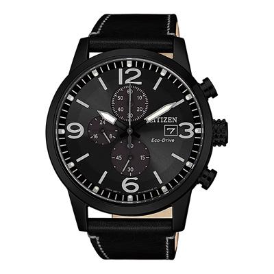 CITIZEN Eco-Drive  浪跡天涯三眼腕錶-黑(CA0617-29E)