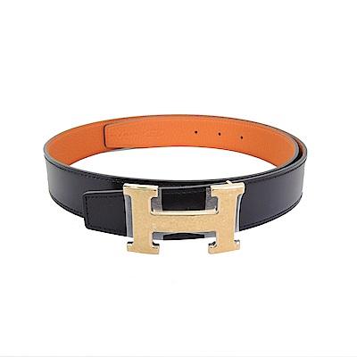 Hermes H Belt Buckle牛皮雙色兩面用皮帶(黑橘/金) @ Y!購物